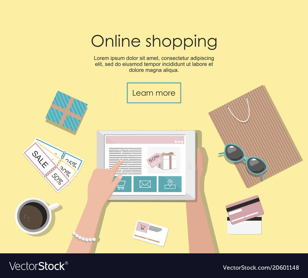 Online shopping banner with digital tablet