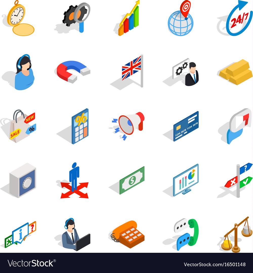 Plan icons set isometric style