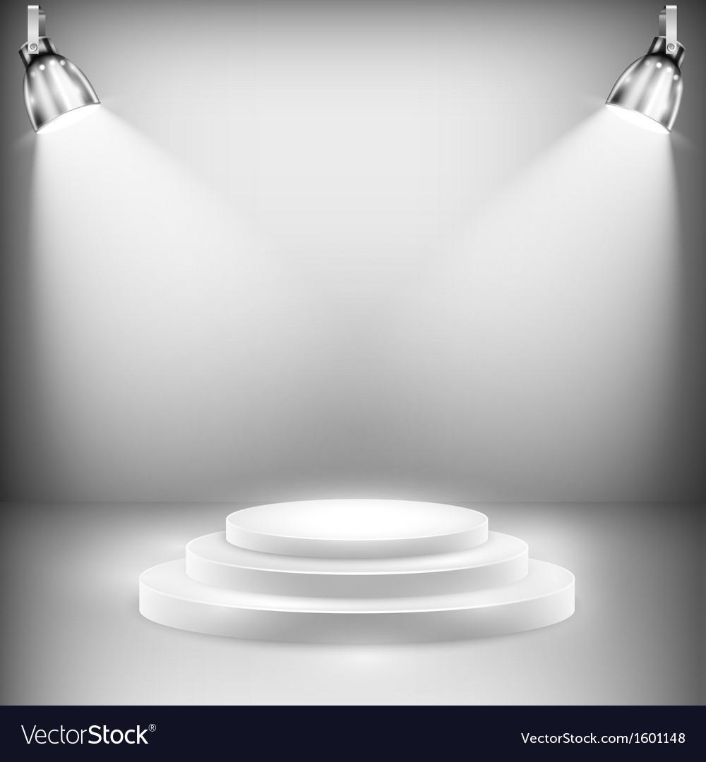 Shiny Stage Illuminated By Spotlights vector image