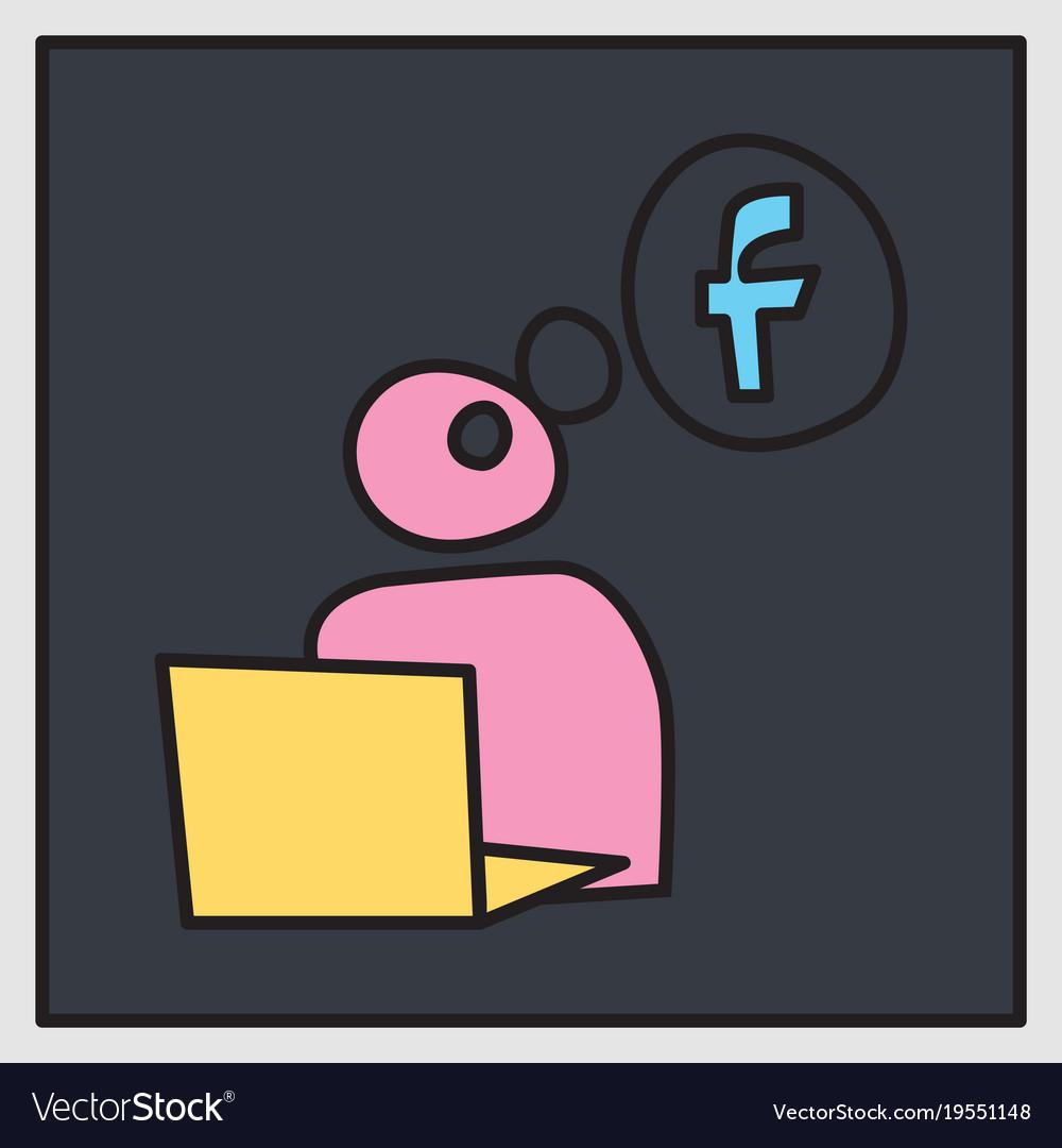 Unusual look facebook logotype social network