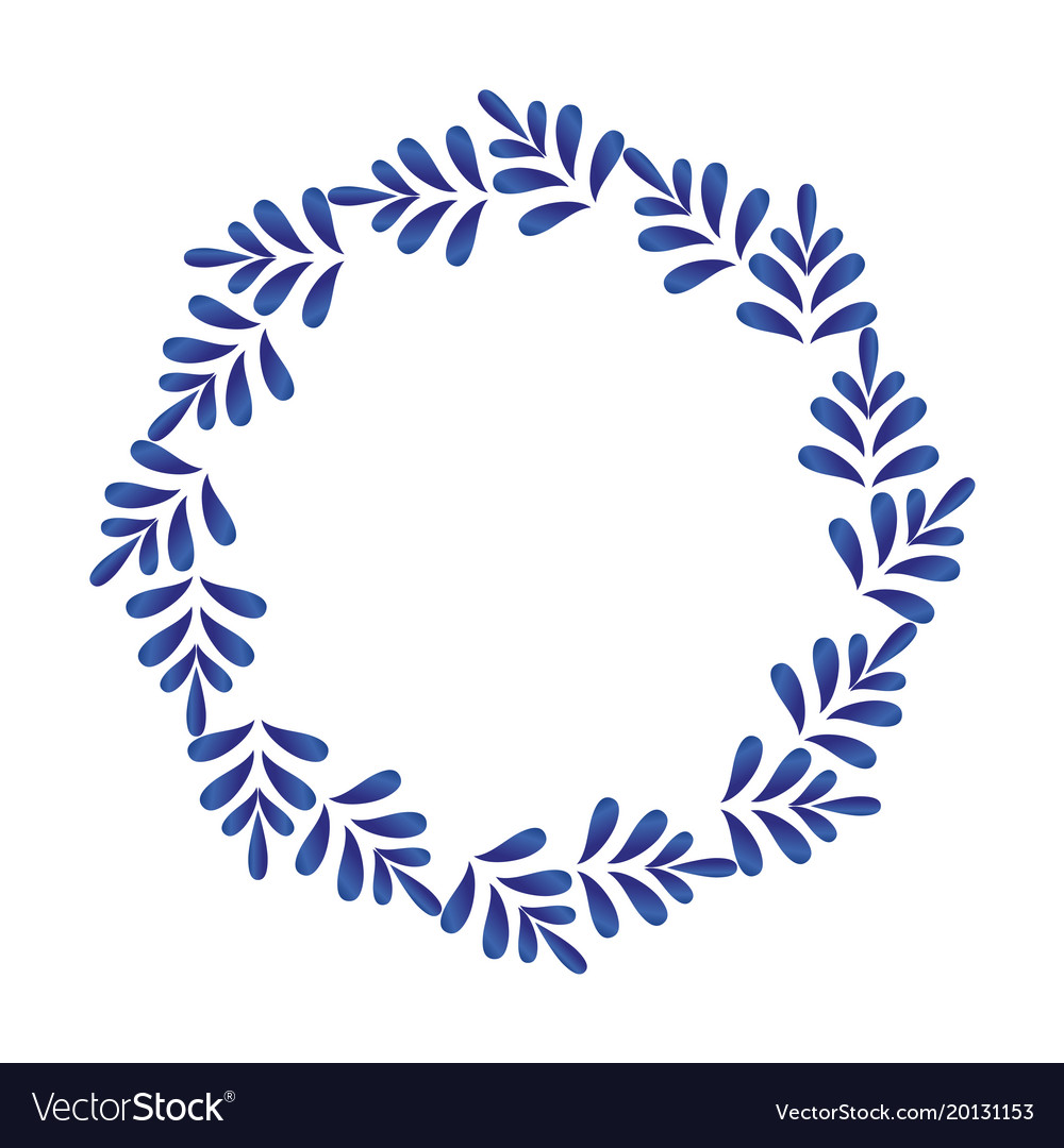 Blue leaves decorative round