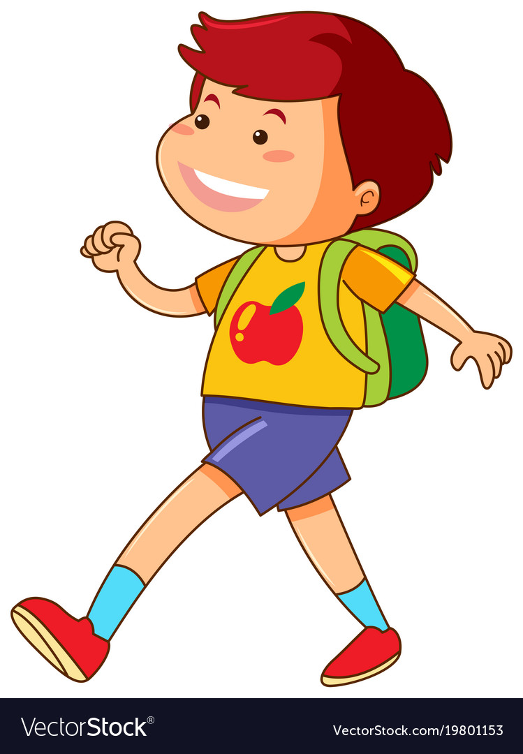 Boy with green backpack walking vector image