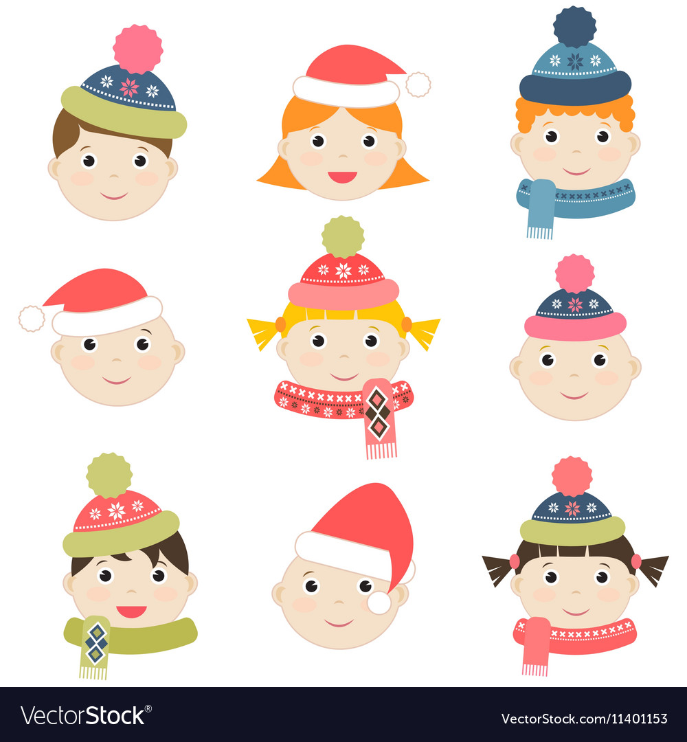 Children with winter clothing