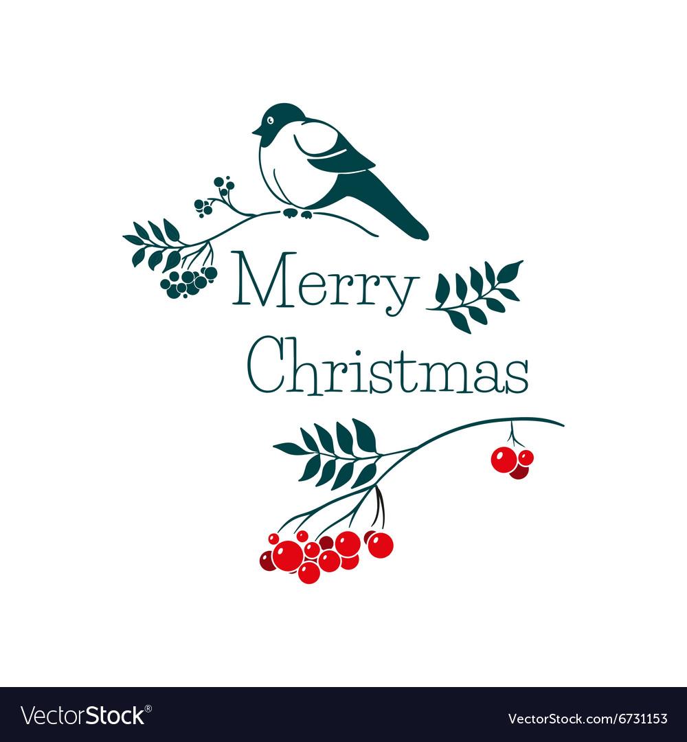 Christmas card with bullfinch and rowan branch