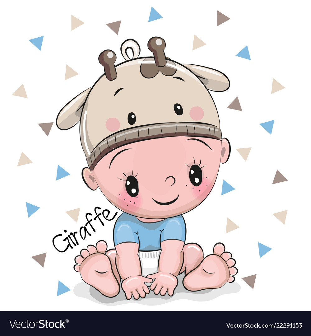 Cute cartoon baby boy in a giraffe hat