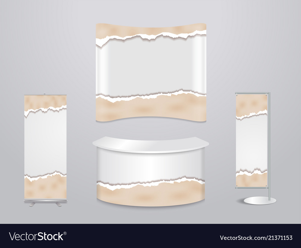 Exhibition stands with ripped paper background