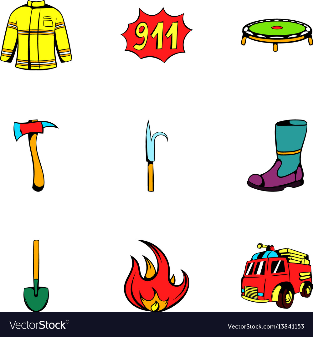 Fire equipment icons set cartoon style