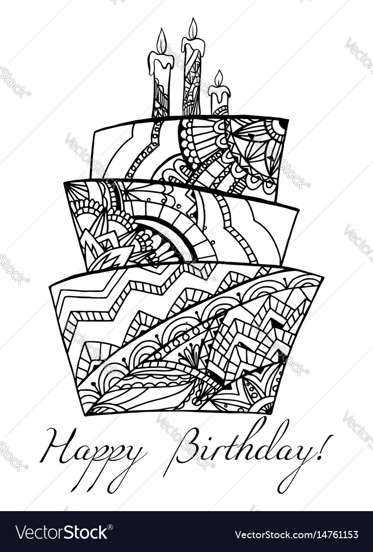 Greeting card with a cake with a boho pattern