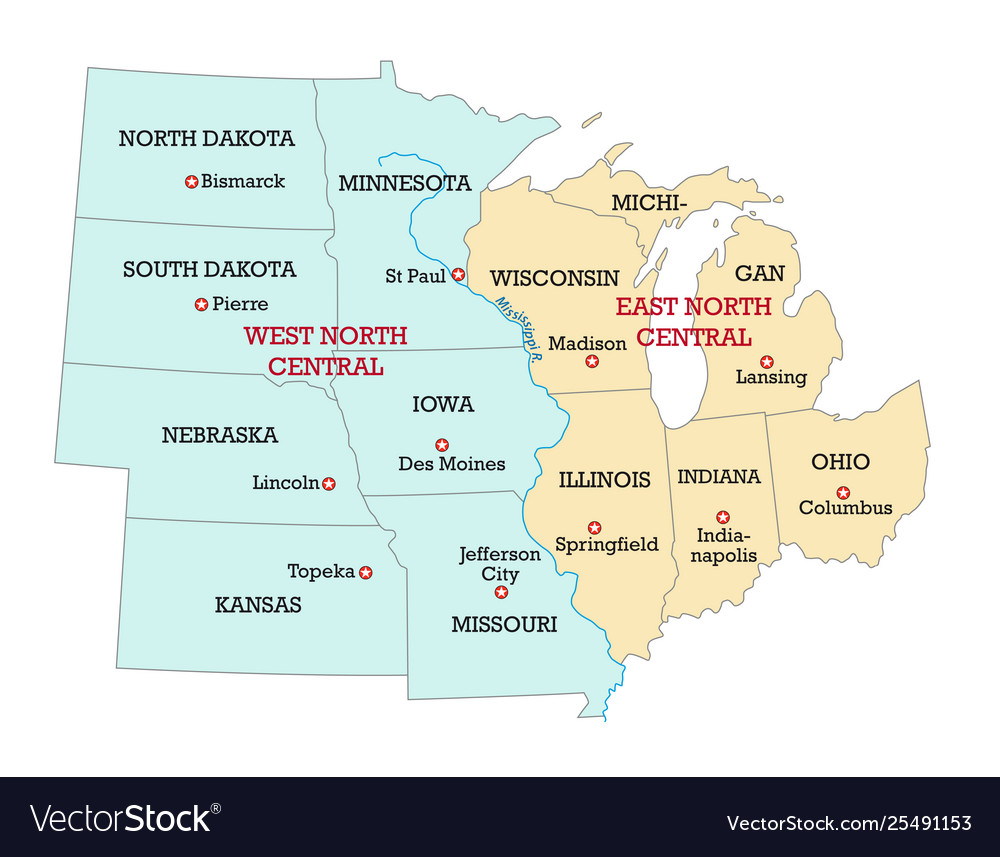 Map Of America Kansas.Map Midwest United States America Vector Image