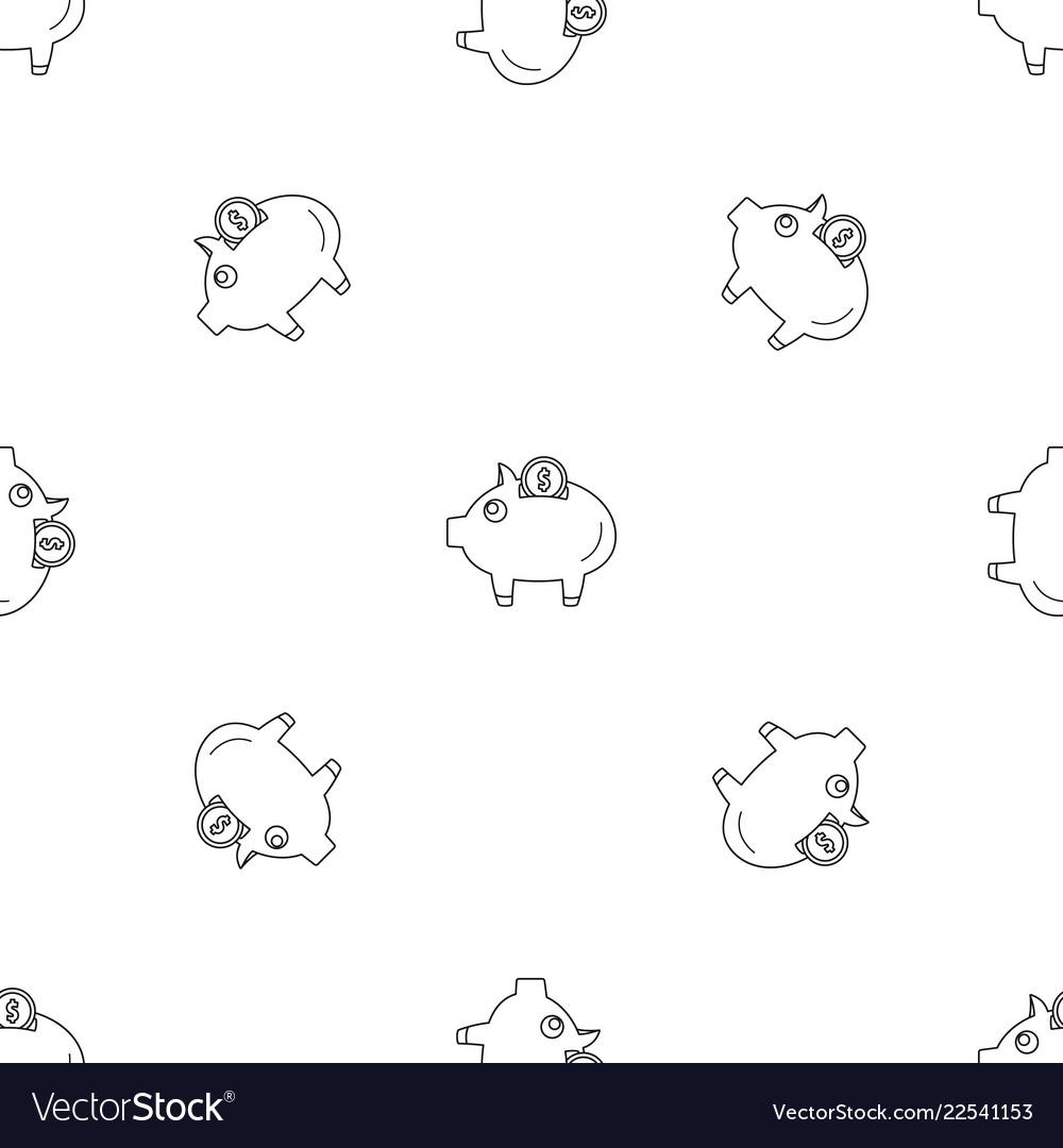 Piggy bank pattern seamless