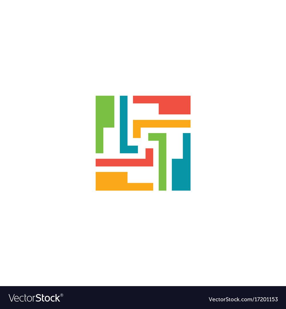 Puzzle circle shape geometry logo