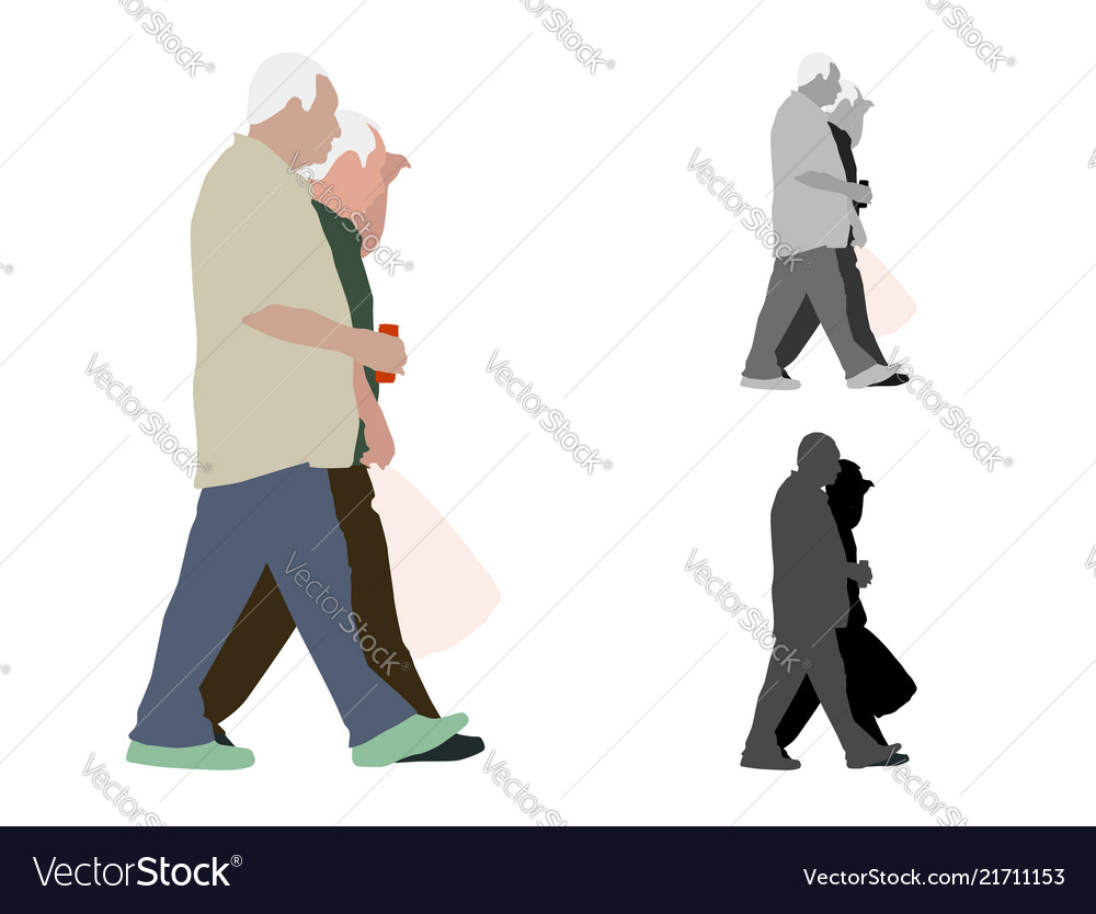 Realistic colored of two walking old men