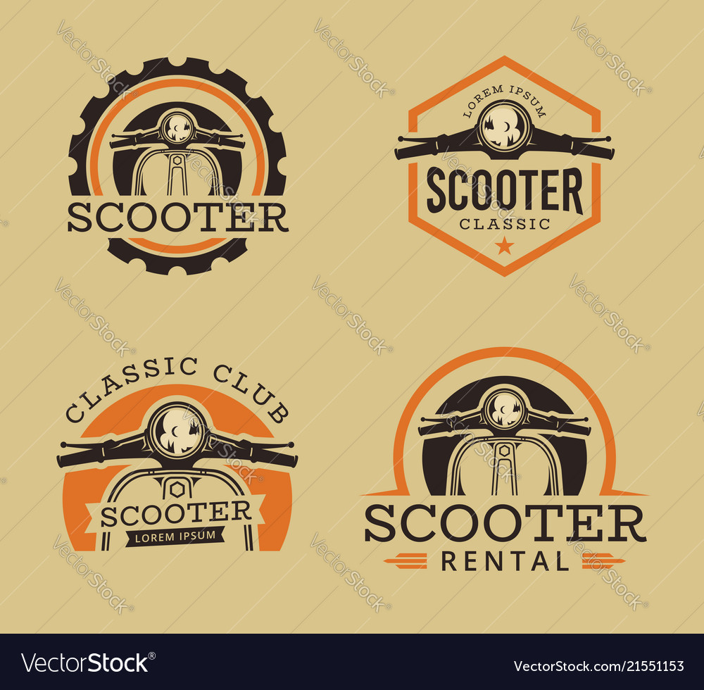 Set of classic scooter emblems