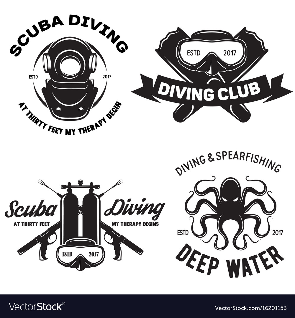 Set of scuba diving club and diving school badges