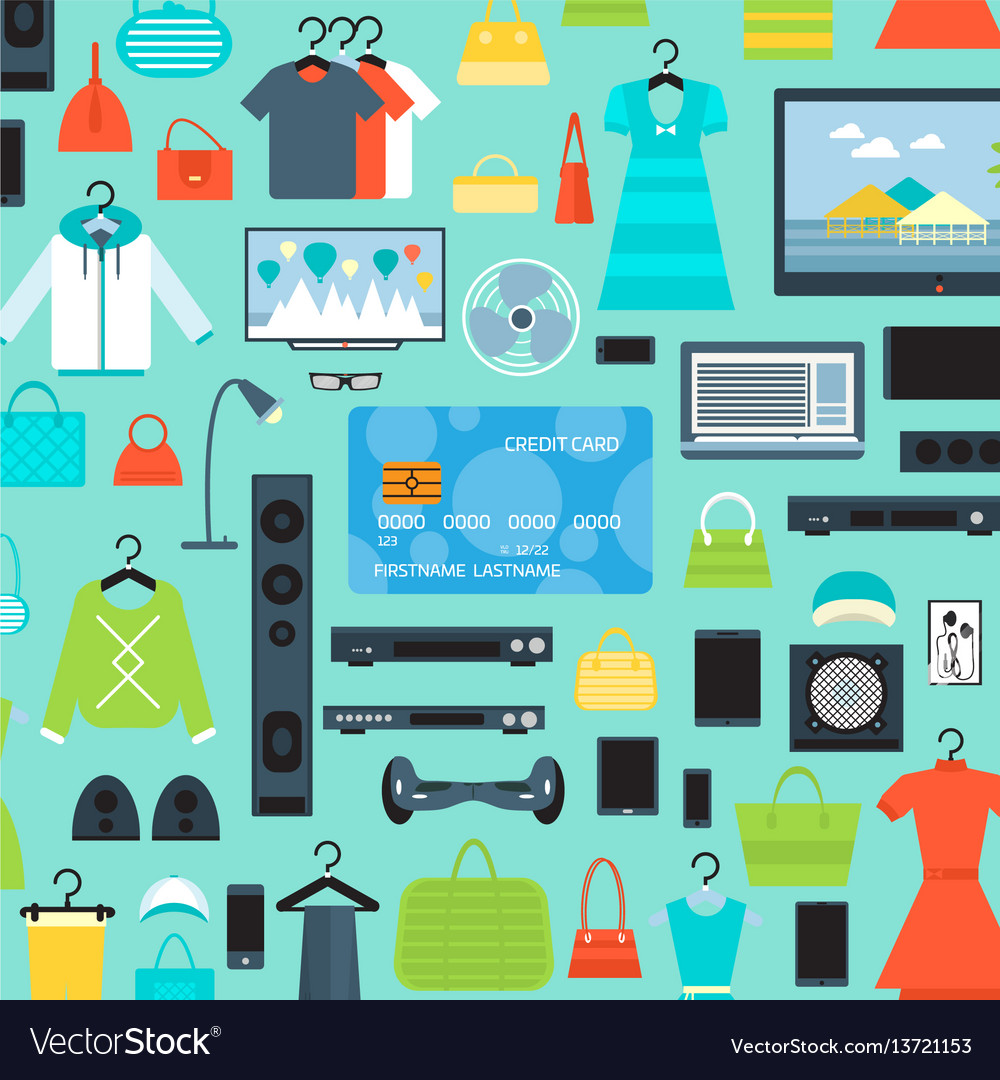 Shopping mall background in flat design vector image