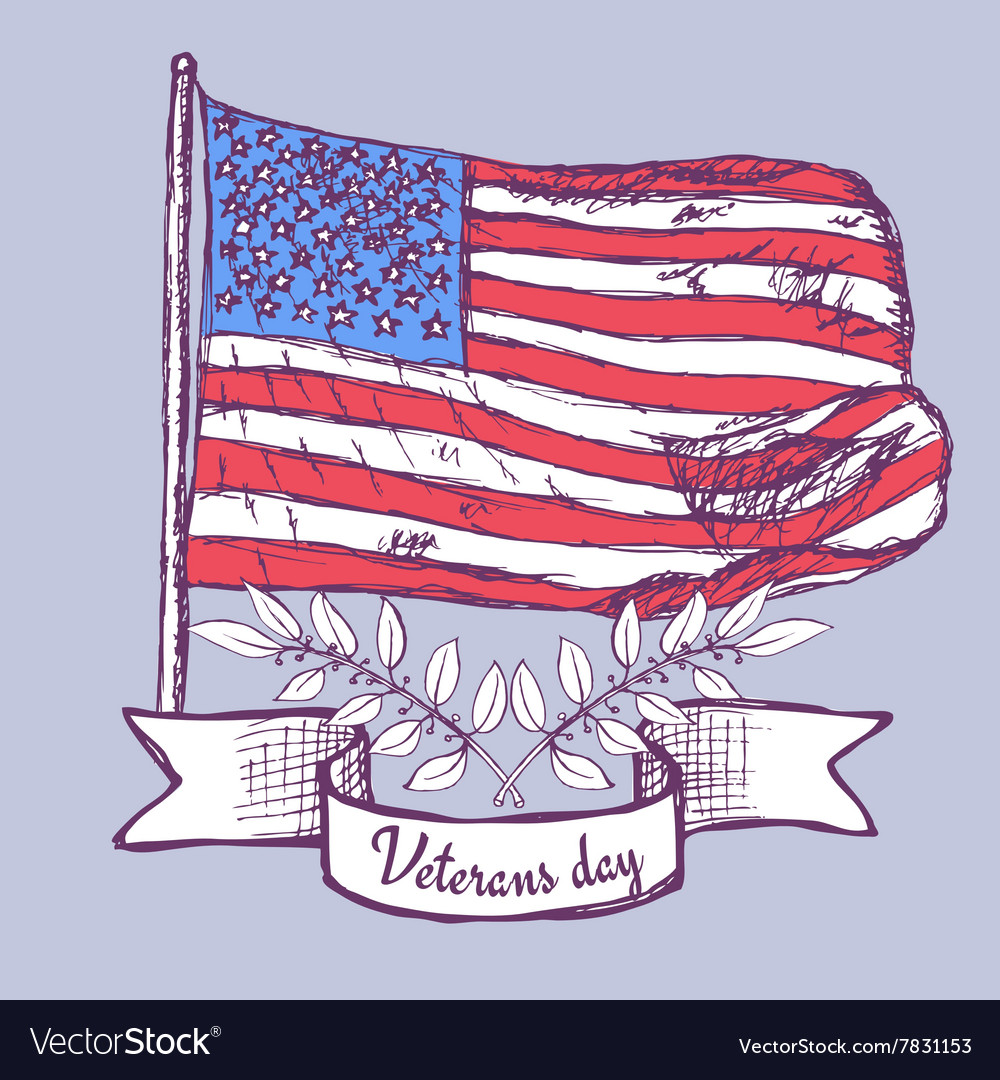 Veterans Day Poster With American Flag Royalty Free Vector