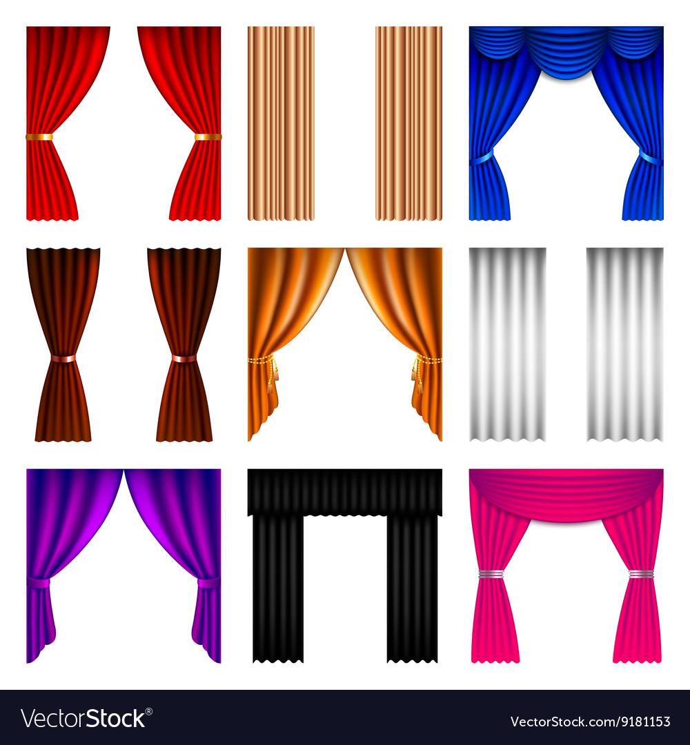 Window curtain icons set