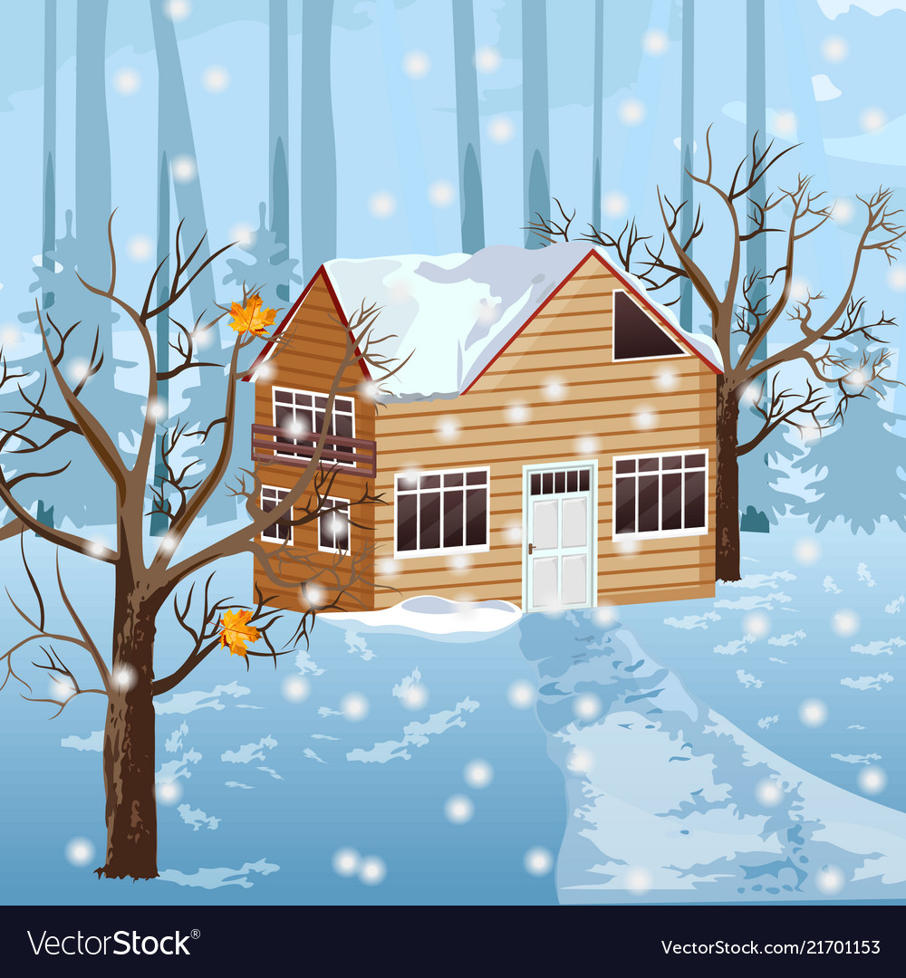 Wood house at winter season snowing