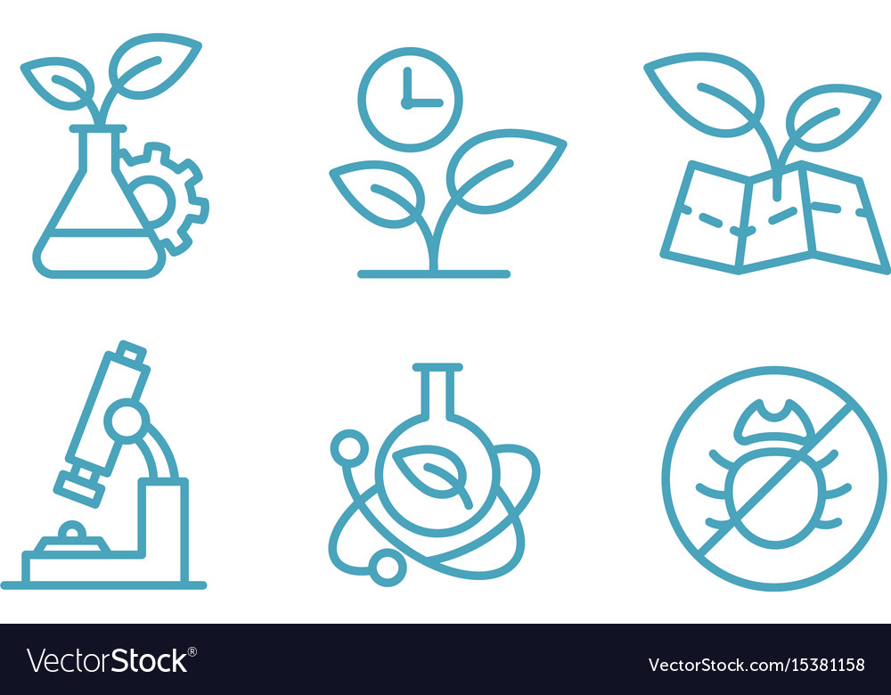 A set of icons biotechnology biology chemistry vector image