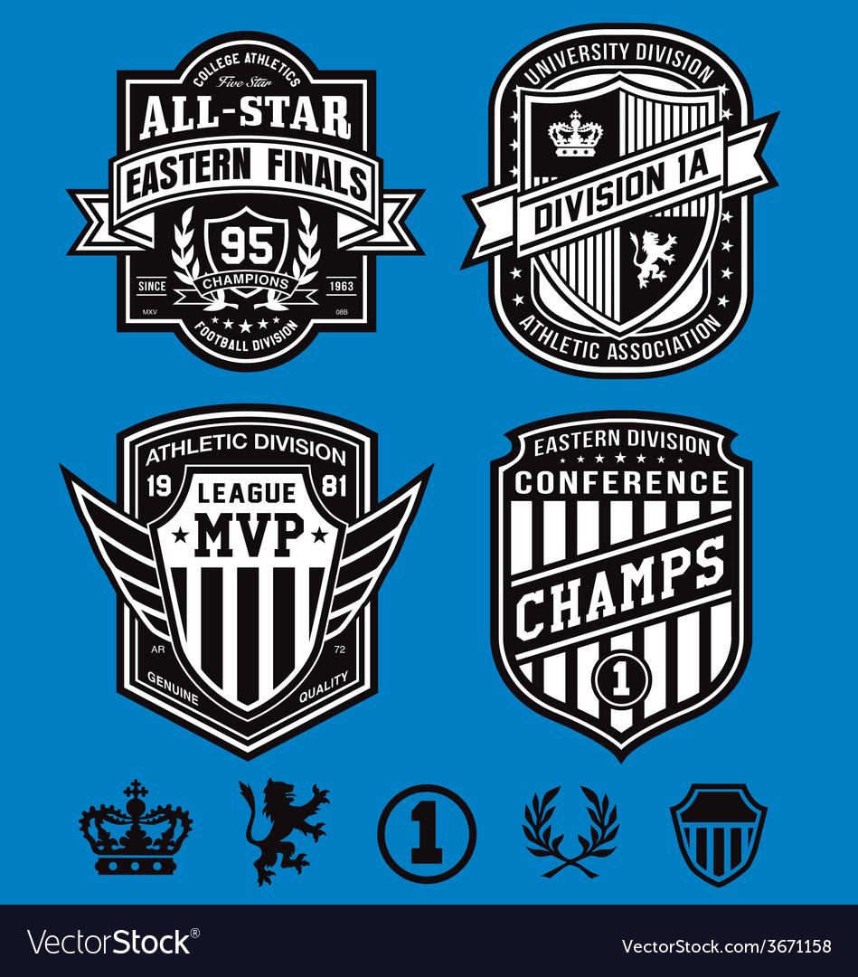 Athletic crest emblems vector image