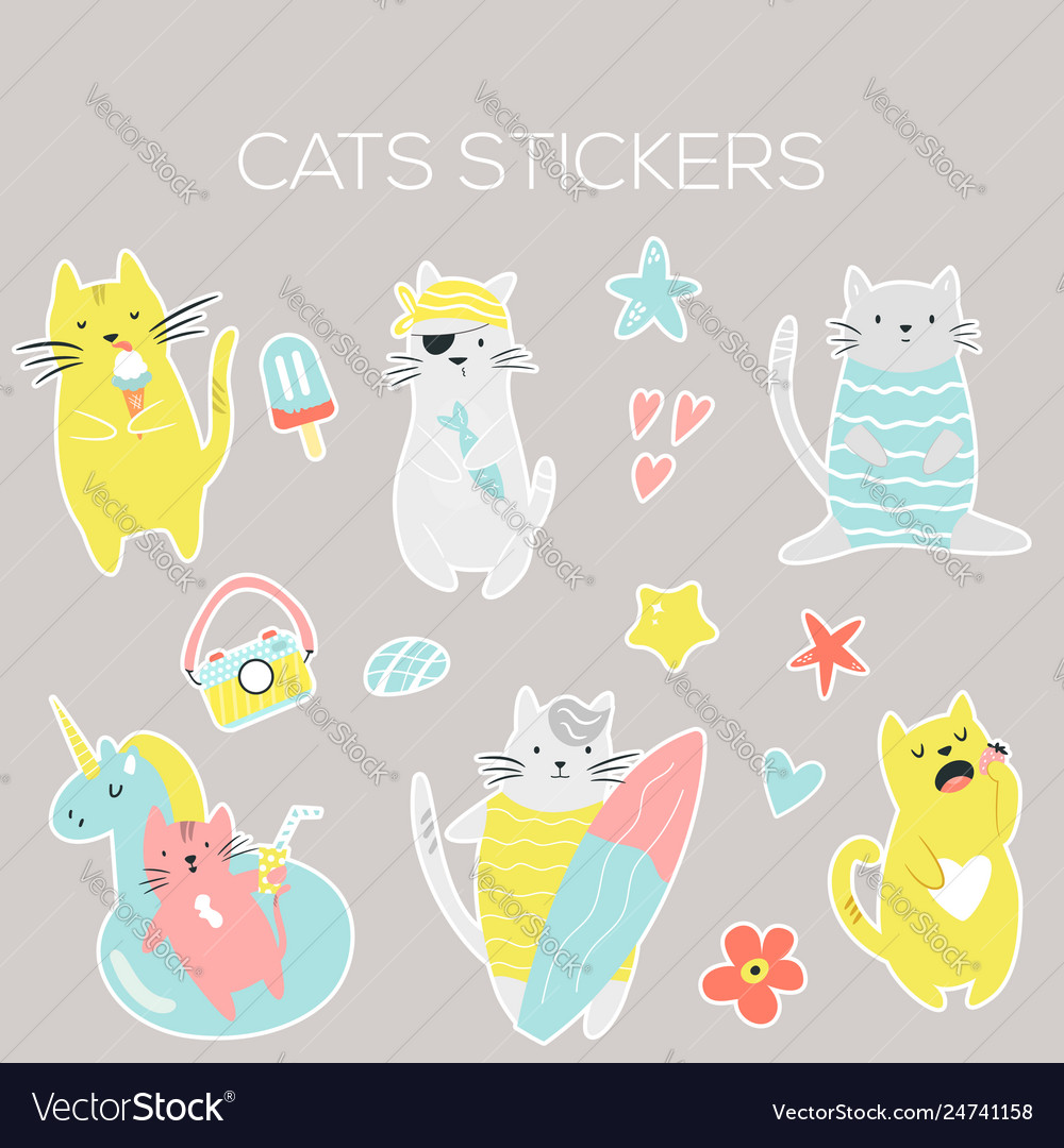 Big set icons stickers funny summer cats