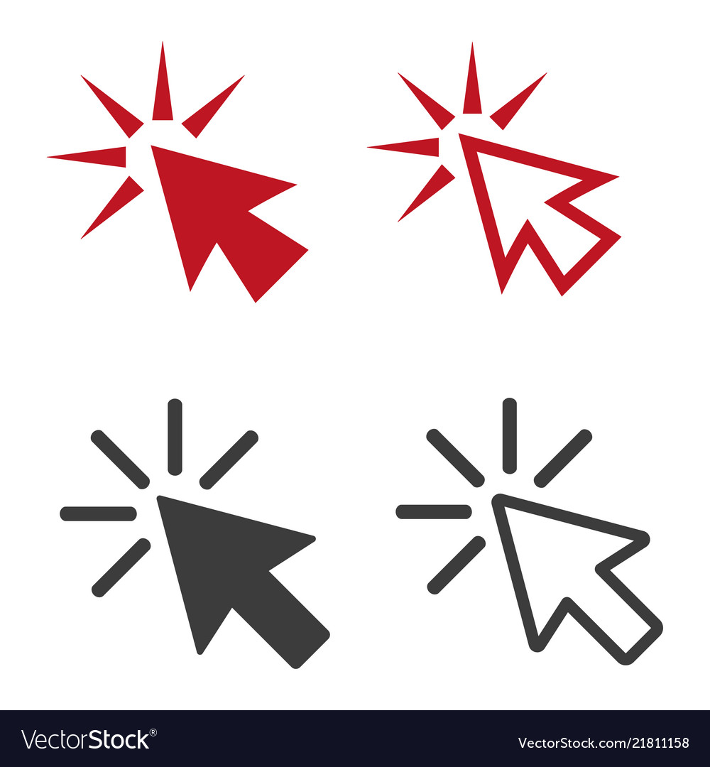 Click flat icons on white background