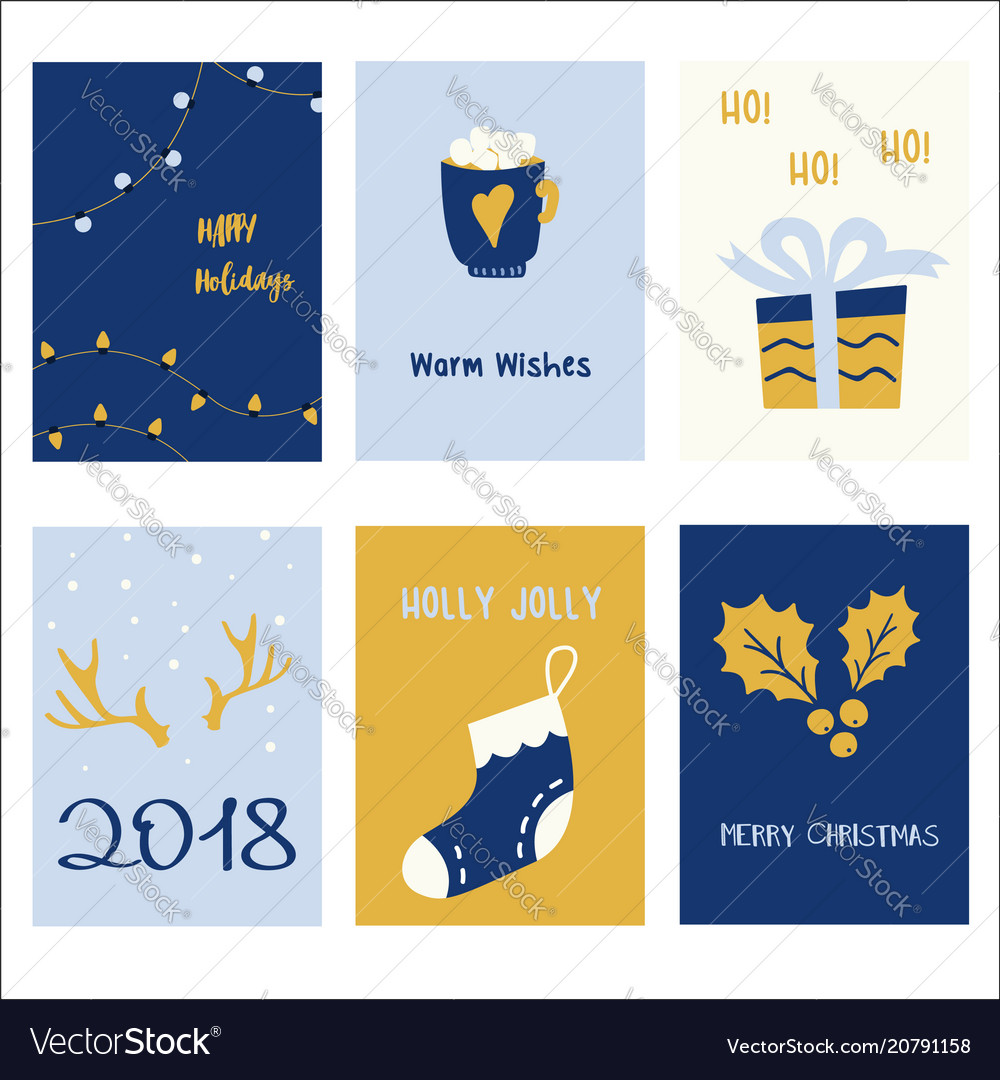 Collection of 6 holiday card templates christmas
