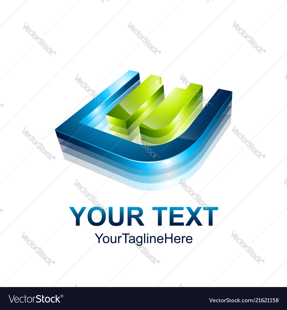 Initial letter e logo template colored blue green