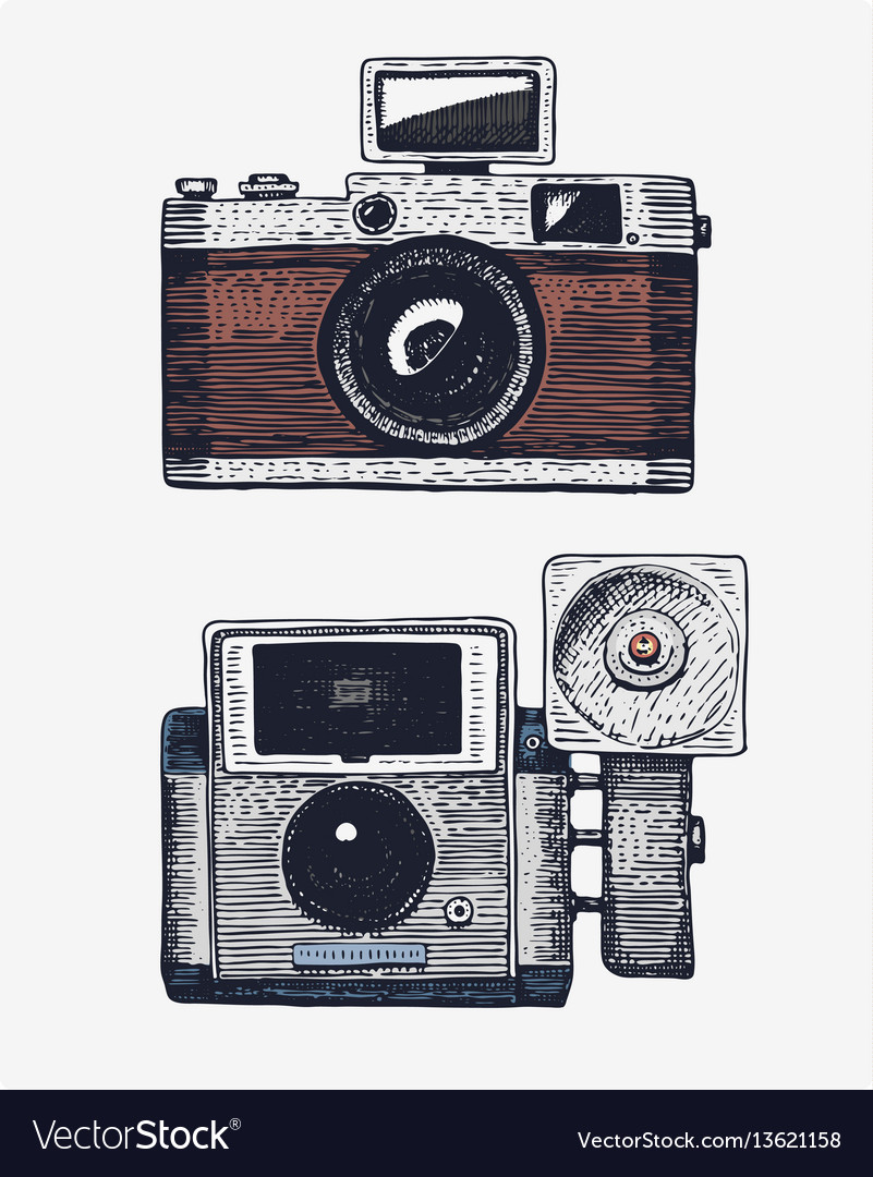Photo camera vintage engraved hand drawn in