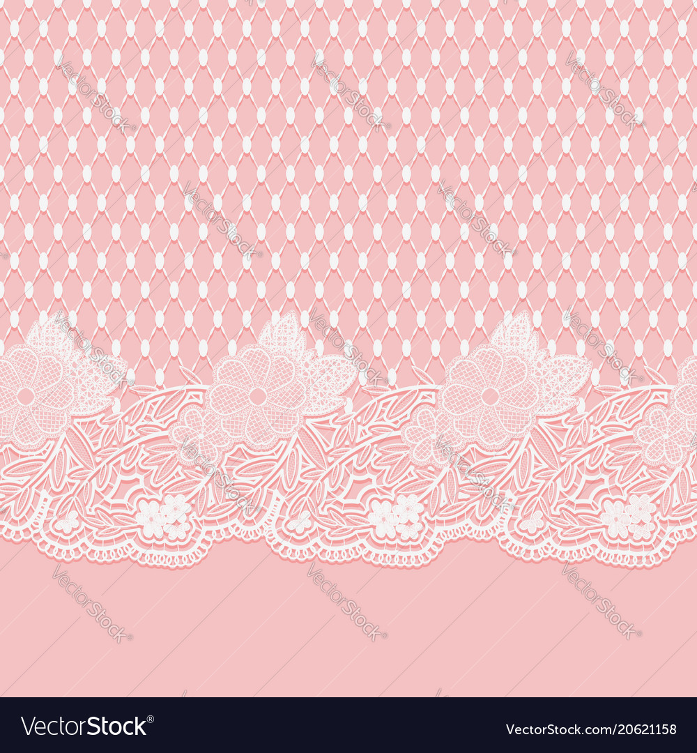 Seamless lace horizontal fabric white flowers and
