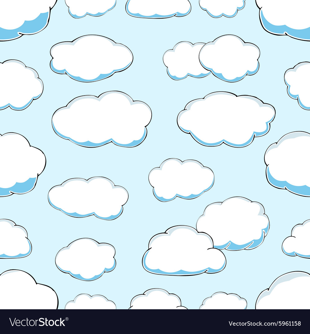 Seamless pattern of clouds on blue sky