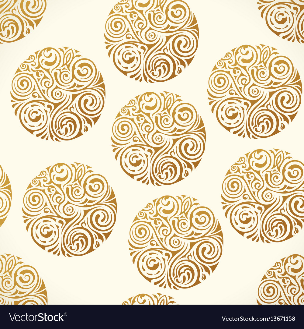 Seamless tattoo pattern gold doodle