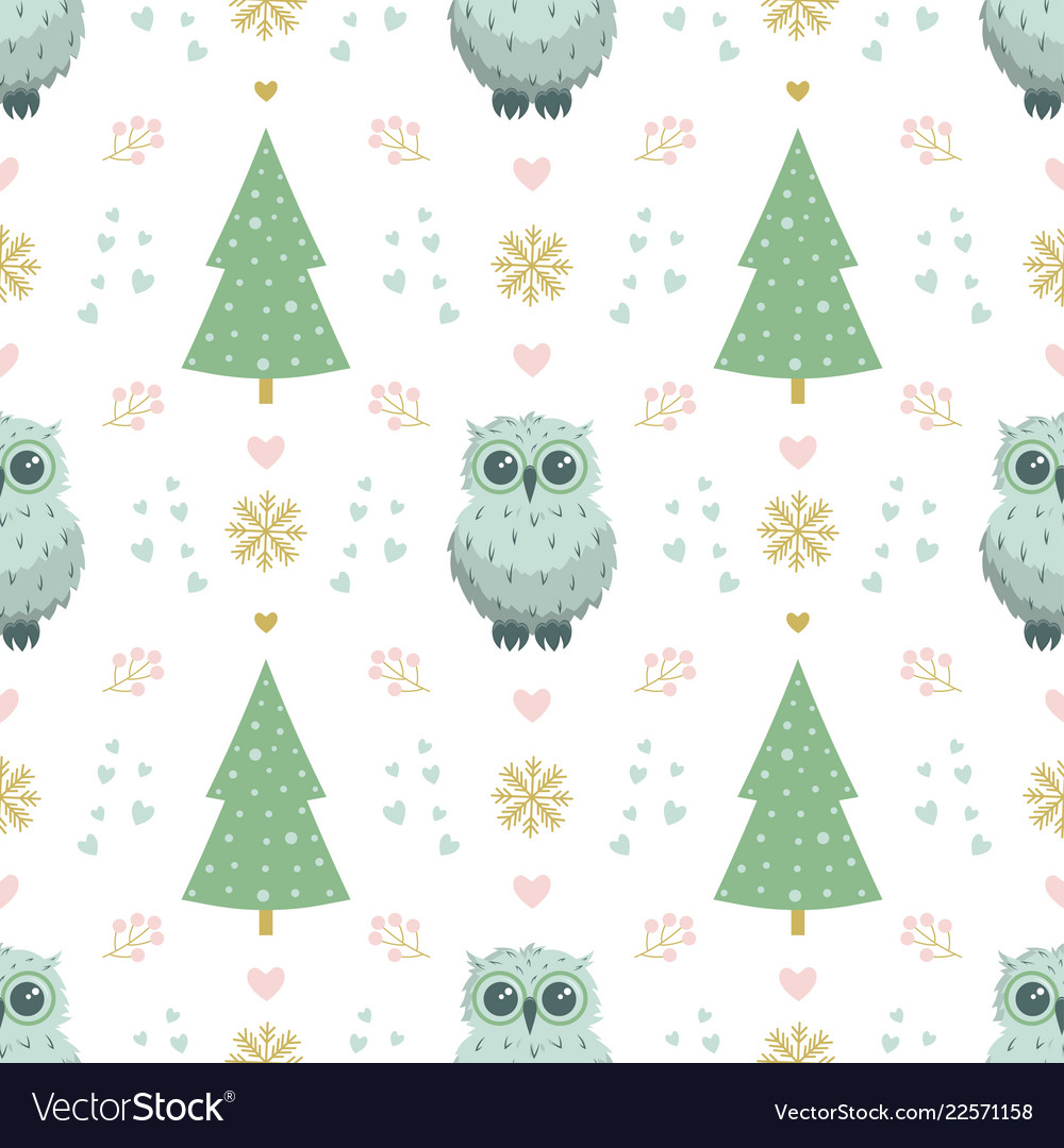 Winter pattern with owl