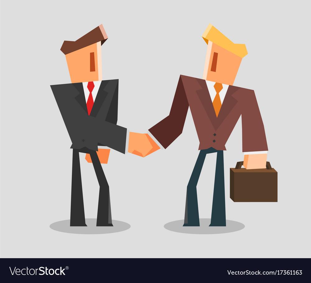 Businessmen shaking hands successful deal concept
