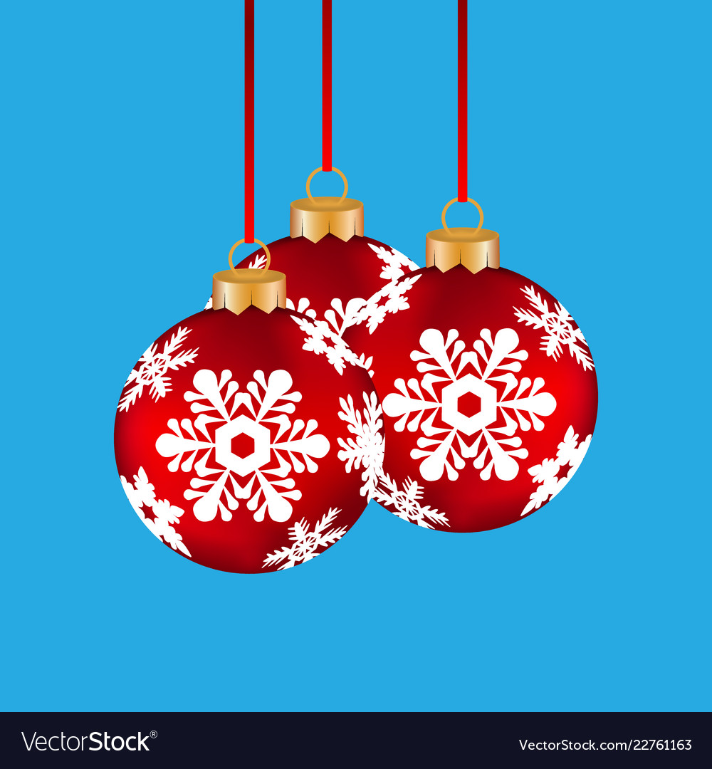 Christmas balls hanging on a clothesline on a blue