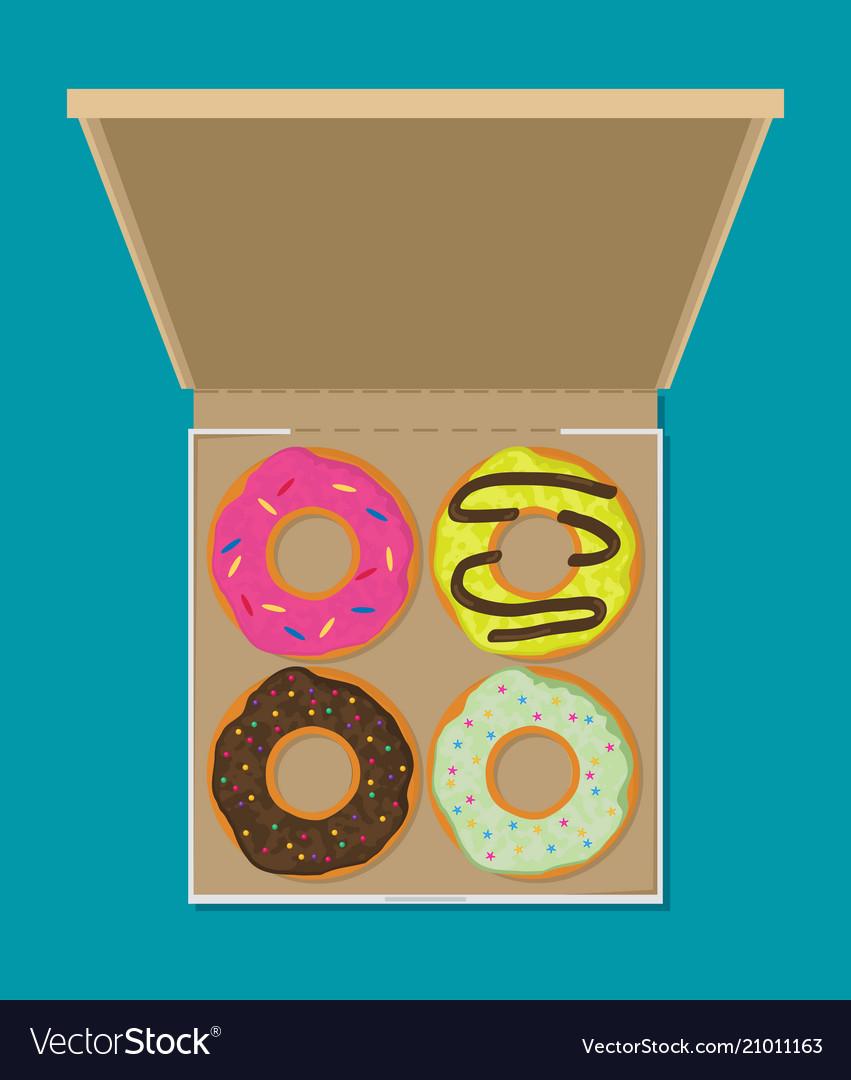 Donut set in box modern flat style