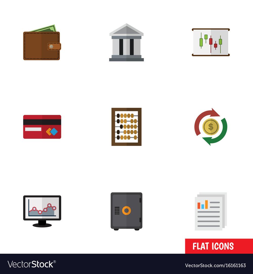 Flat icon incoming set of interchange chart bank vector image