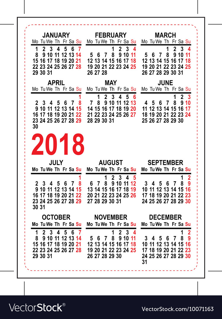 Grid pocket calendar 2018 vector image