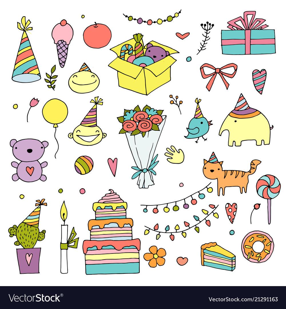 Happy birthday color doodle set hand drawn