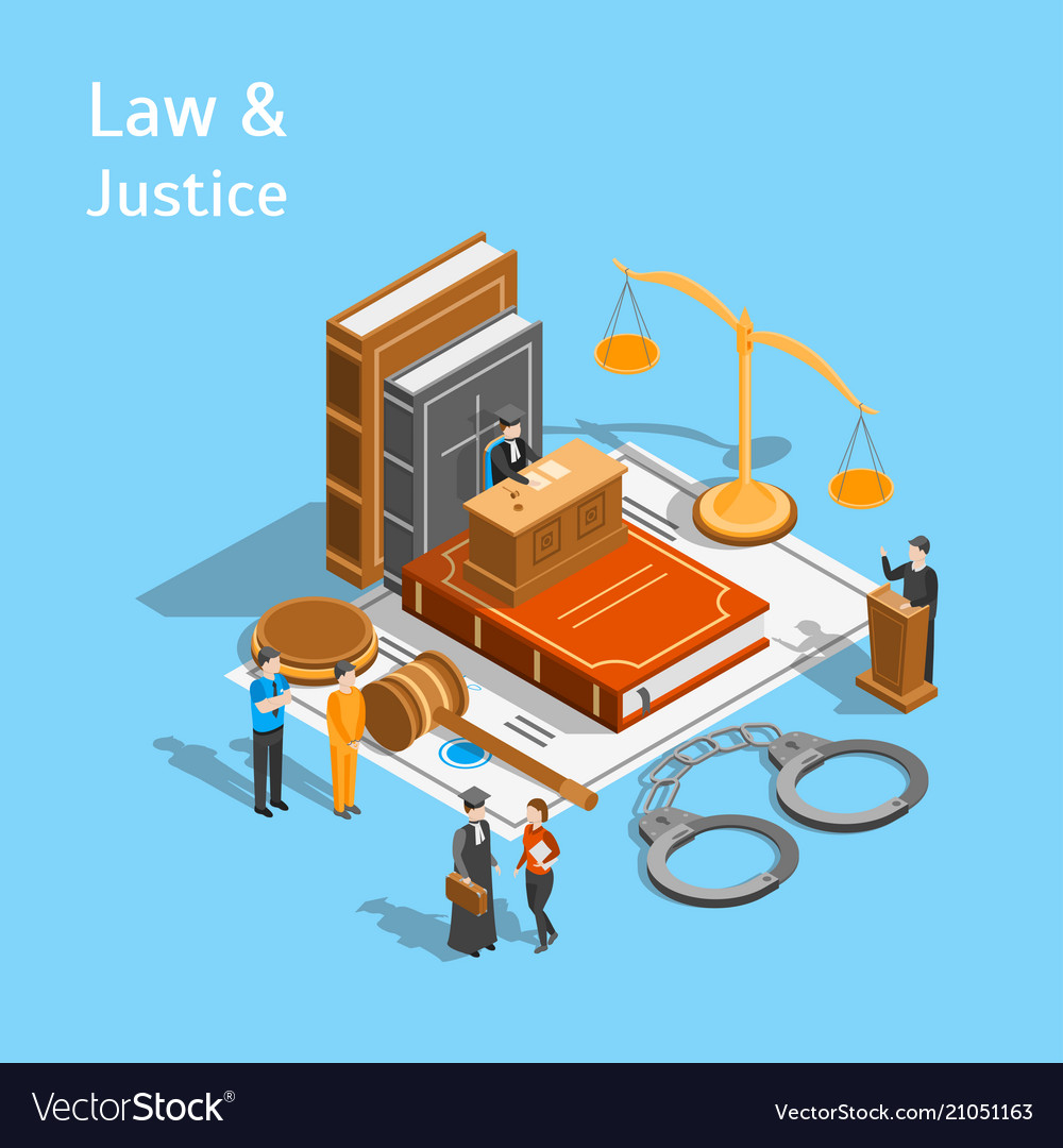 Law justice composition concept 3d isometric view