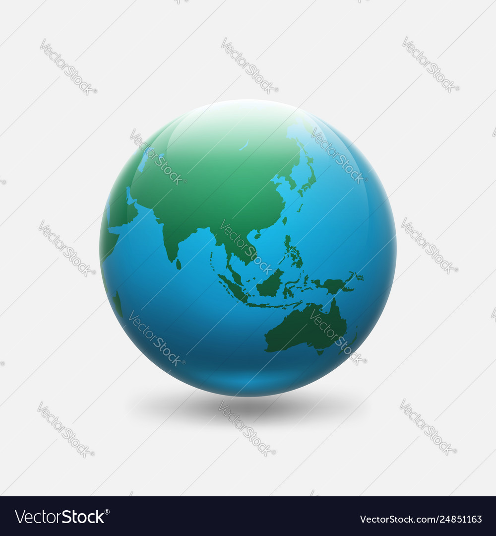 Planet earth with green continents asia and