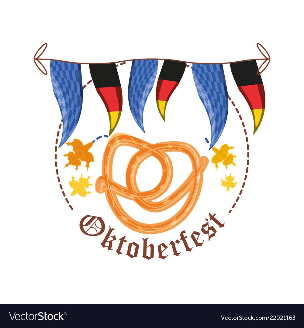 Pretzels with germany flags garland oktoberfest