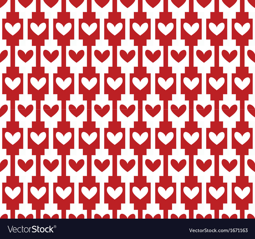 Red seamless background pattern with hearts