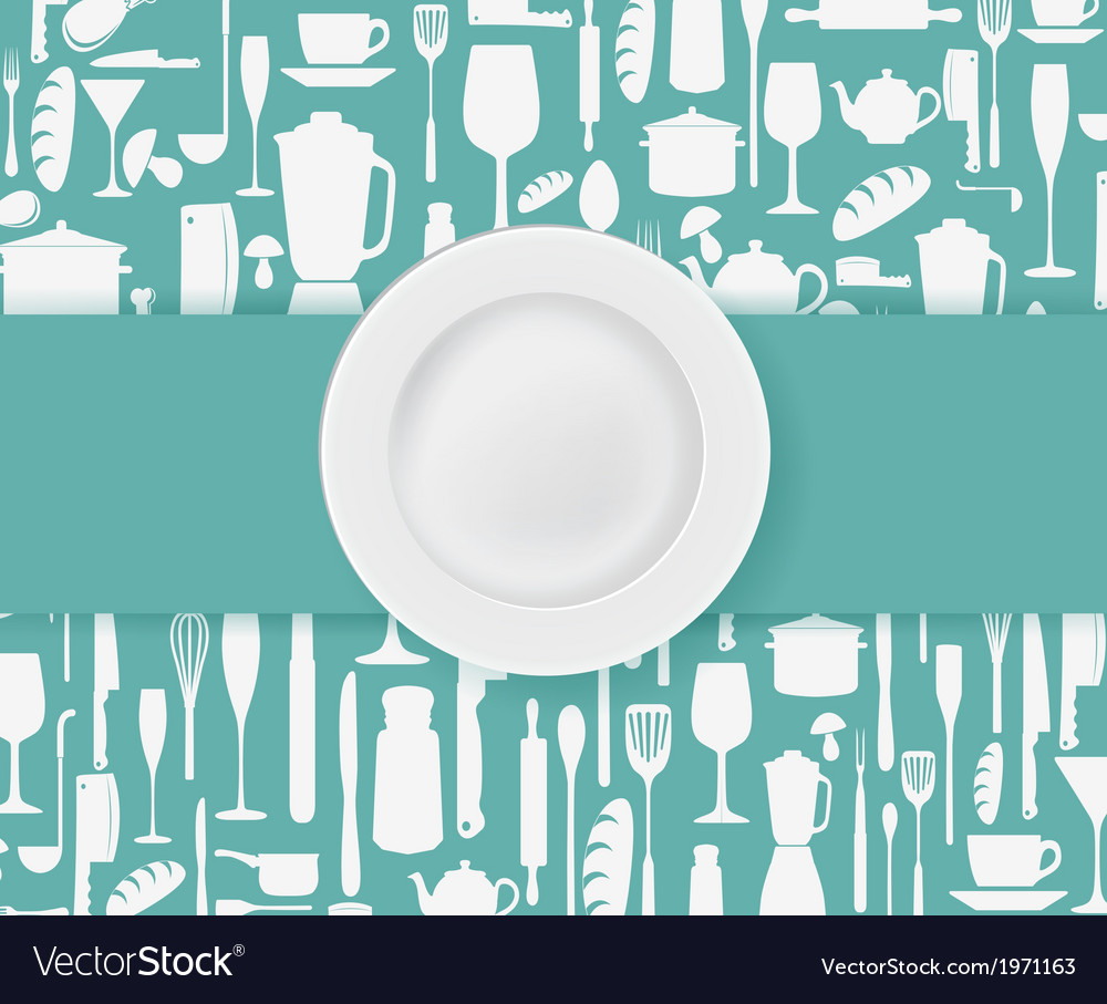 Restaurant menu design with plate