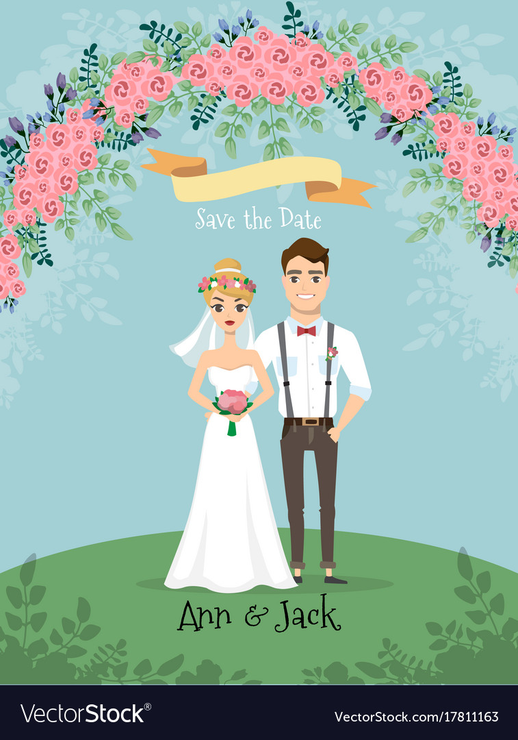 Save date wedding invitation with bride and