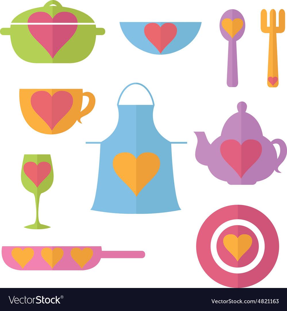 Set flat icon of kitchen
