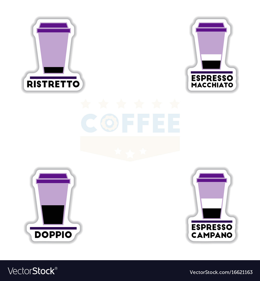 Sets of label frames and badges icons coffee