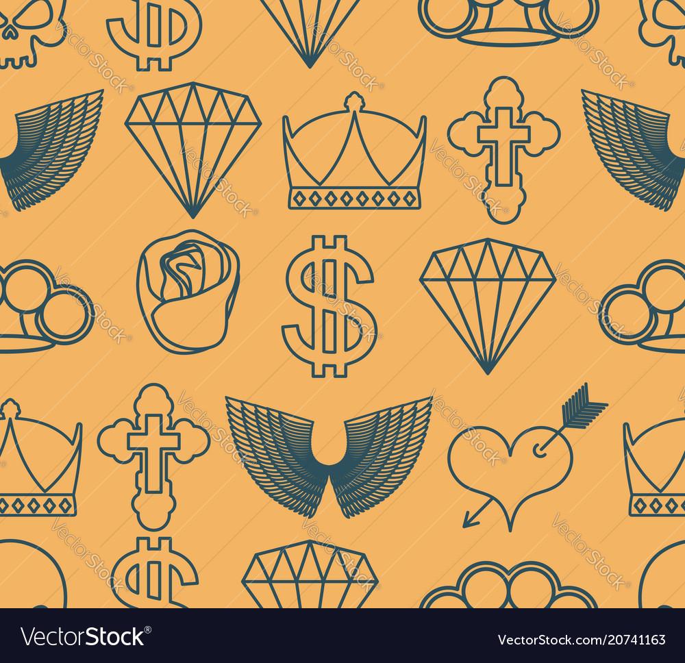 Tattoo seamless pattern skull and brass knuckles