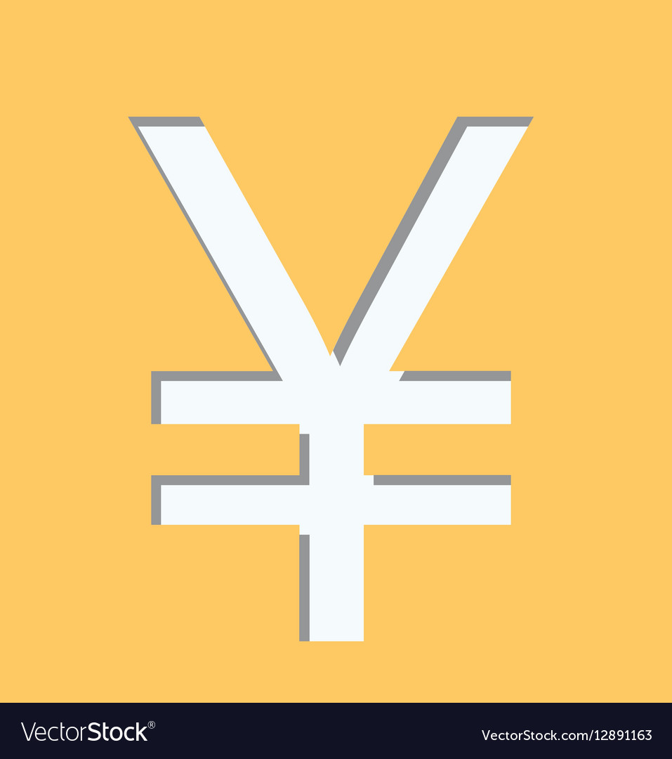 Yellow Square Shape With Currency Symbol Of China Vector Image