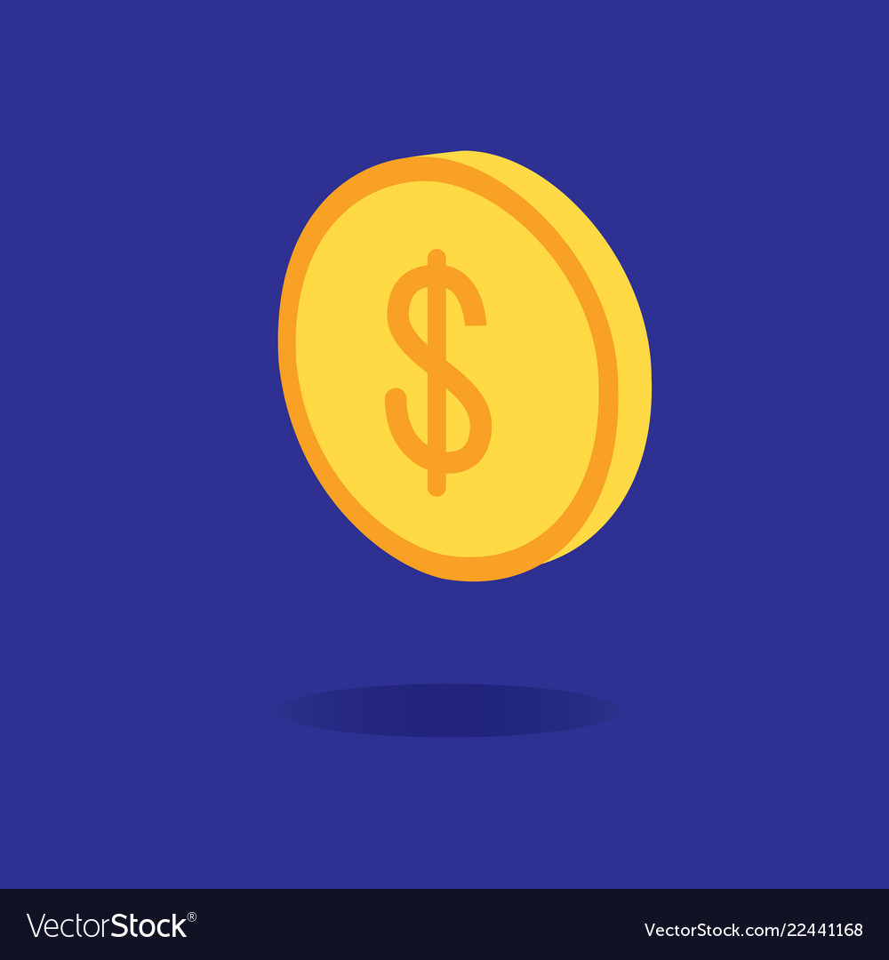 3d dollar coin design with dark blue background